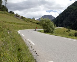 A solo rider Descends the Col D'izoard