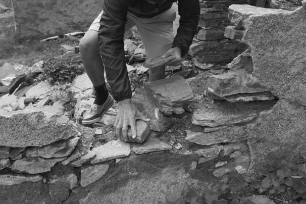 Jonathan Hero Constructing a Cairn For Faustino