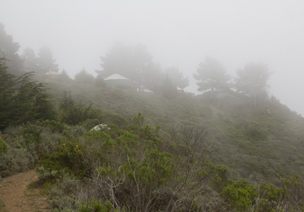 Treebones Yurts: up the hill from Highway one.