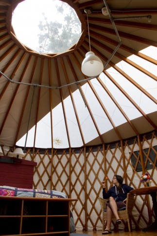 Inside the Yurt: In addition to amenities, beautiful inhabitants, skylights and wonders of geometry there is also an oculus in the ceiling. Upon leaving you will henceforth stare at the ceiling above your own bed and think longingly... ahhh..oculus.